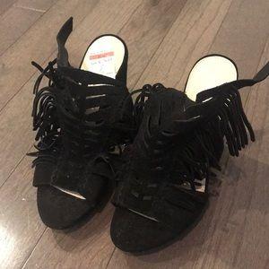 Fringe block heels